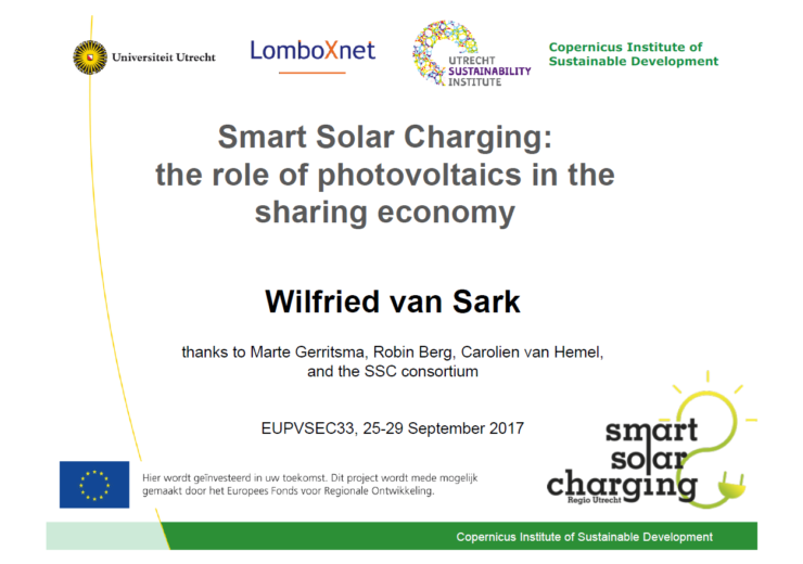 Smart Solar Charging: the role of photovoltaics in the sharing economy Wilfried van Sark Smart Solar Charging presentatie