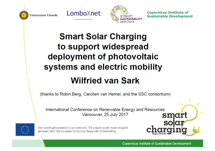 presentatie Smart Solar Charging to support widespread deployment of photovoltaic systems and electric mobility Wilfried van Sark Vancouver